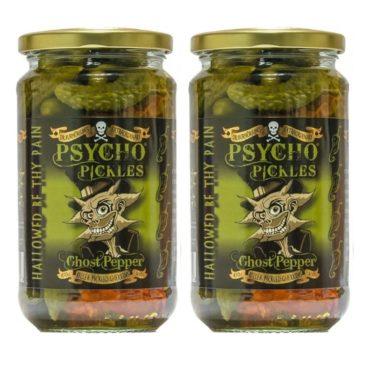 *PSYCHO PICKLES x 2 Jars Ghost Pepper Gherkins